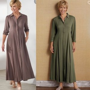 Soft surroundings olive green laurel maxi dress PS